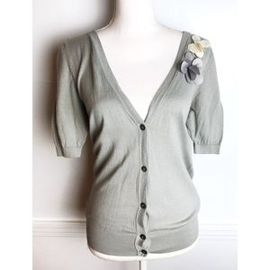 Loft • Grey Floral Appliqué Cardigan